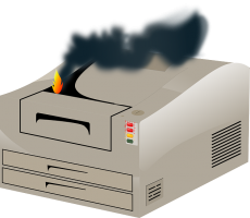 Paper Jam caused fire